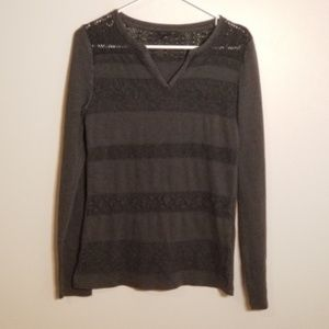 Lucky Brand Knit Lace & Thermal Stripe Top